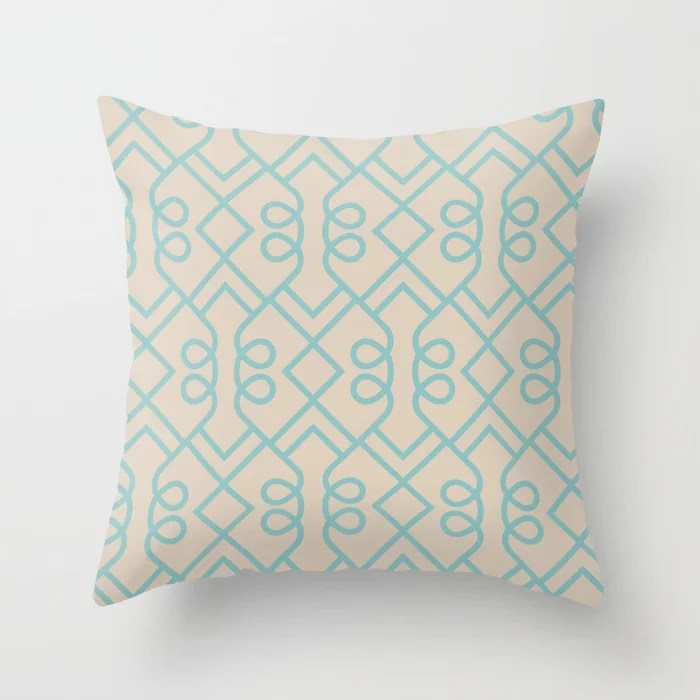 Aqua and Beige Minimal Diamond Loop Pattern 2021 Color of the Year Aqua Fiesta and Sourdough Throw Pillow
