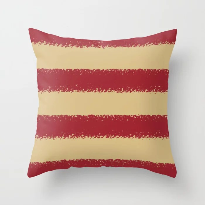 Red and Beige Minimal Sponge Stripe Pattern 2021 Color of the Year Satin Paprika and Sunlit Brass Throw Pillow