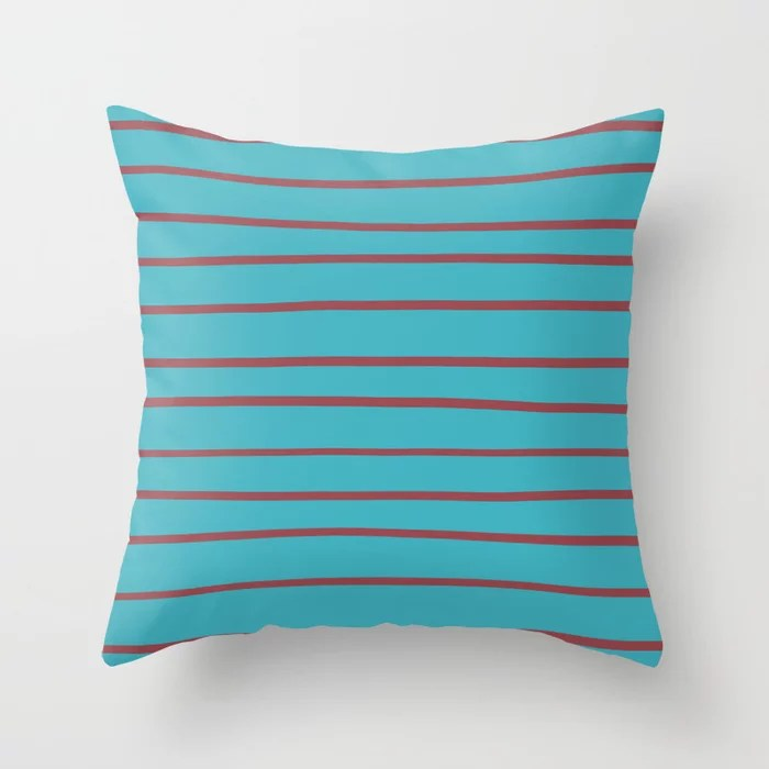 Red and Aqua Horizontal Stripe Pattern 2021 Color of the Year Passionate and September Skies Throw Pillow