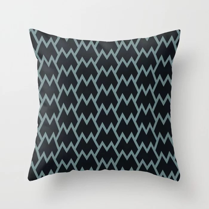 Soft Aqua Blue Black Tessellation Line Pattern 18 2021 Color of the Year Aegean Teal Throw Pillow