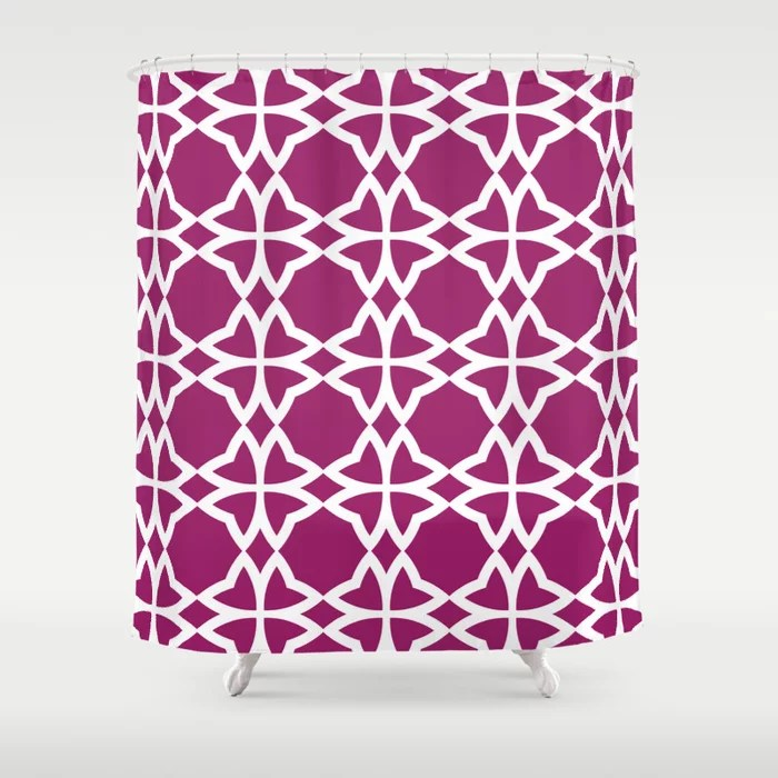 Magenta and White Symmetrical Flower Pattern - Colour of the Year 2022 Orchid Flower 150-38-31 Shower Curtain - 2022 colour trends interior decorating fuchsia - purple - pink