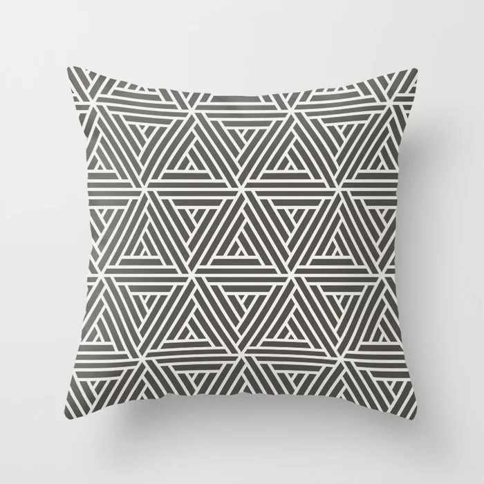 Brown White Abstract Geometric Shape Pattern 2 V2 Throw Pillow Matches Sherwin Williams Paints 2021 Color of the Year Urbane Bronze / Extra White