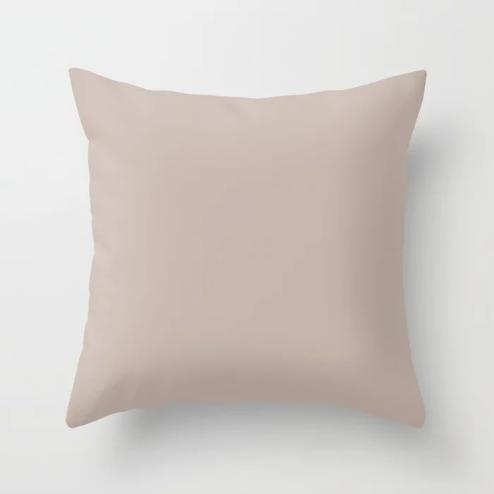 Light Pastel Pink Beige Solid Color - All Colour - Single Shade Pairs w/ Doeskin SW 6044 Throw Pillow