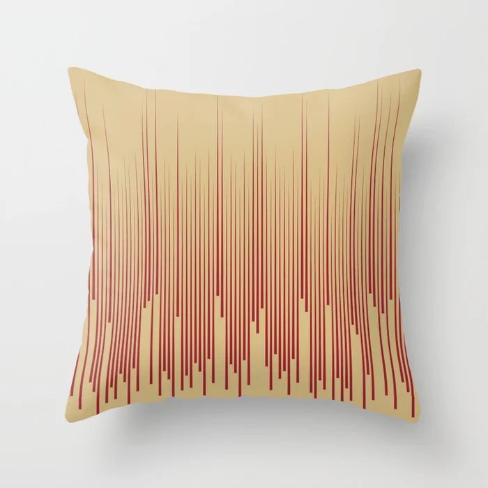 Red and Beige Minimal Frequency Line Art Pattern 2021 Color of the Year Satin Paprika & Sunlit Brass Throw Pillow