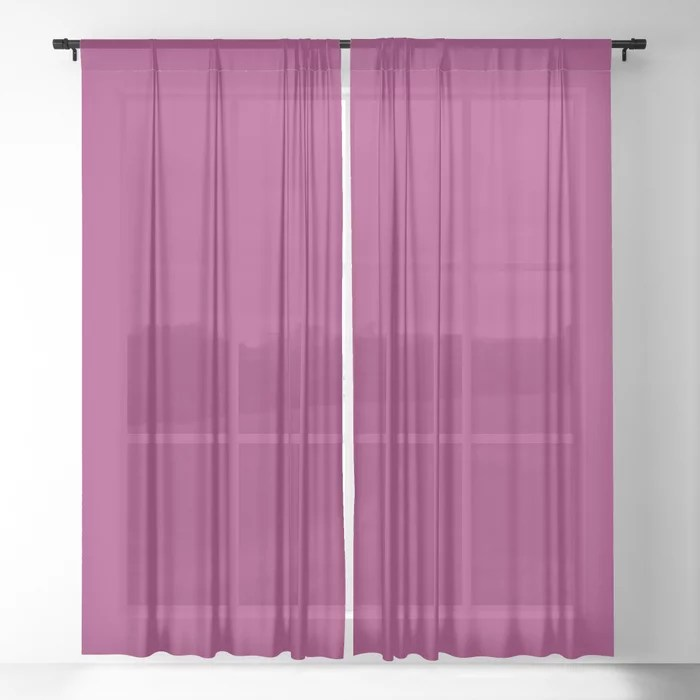 Orchid Flower Deep Pink Purple Solid Color 2022 Colour of the Year Sheer Curtain. 2022 color trend - color scheme