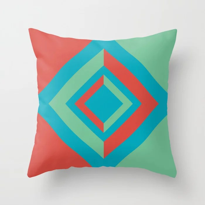 Aqua Red Green Diamond Minimal Illustration 2021 Color of the Year AI Aqua and Accent Shades Throw Pillow