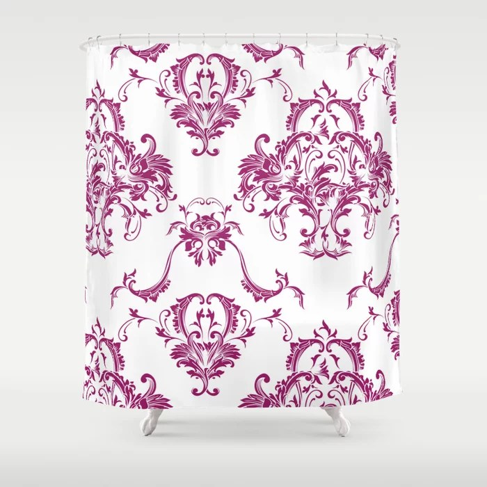 Magenta and White Damask Scroll Baroque Pattern - Colour of the Year 2022 Orchid Flower 150-38-31 Shower Curtain - 2022 colour trends interior decorating fuchsia - purple - pink
