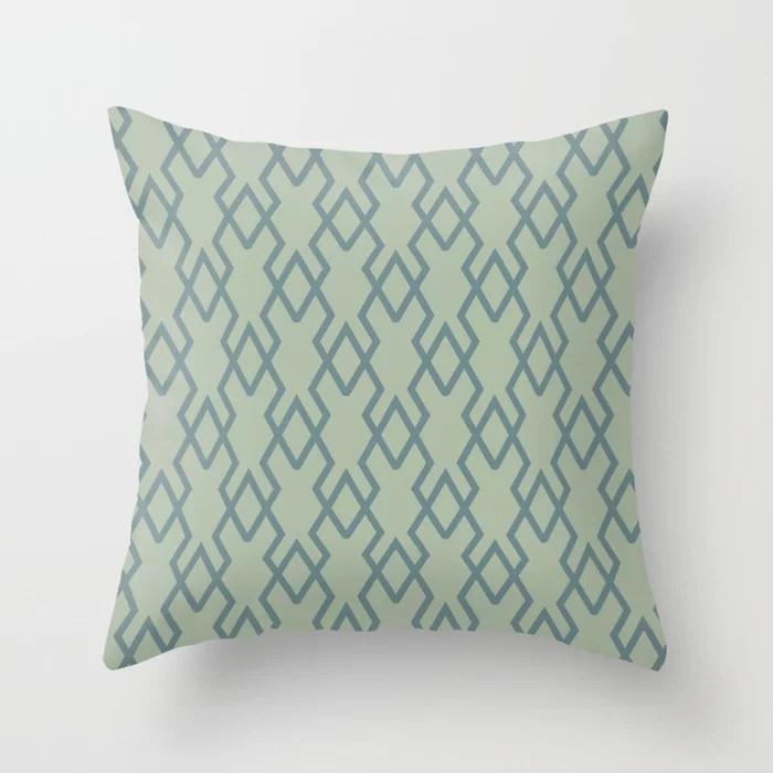 Soft Aqua Blue Green Tessellation Line Pattern 19 2021 Color of the Year Aegean Teal Salisbury Green Throw Pillow