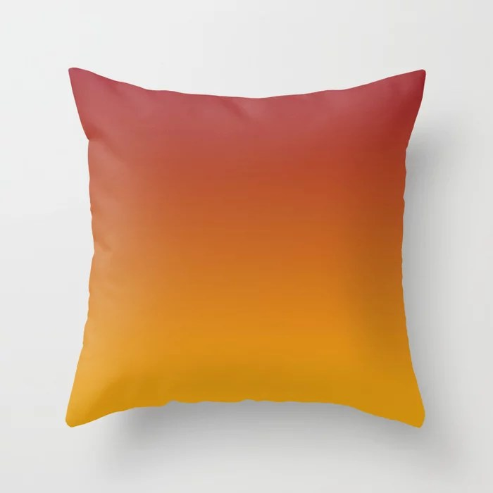 Red and Orange Gradient Ombre Blend 2021 Color of the Year Satin Paprika and Satin Harvest Peach Throw Pillow