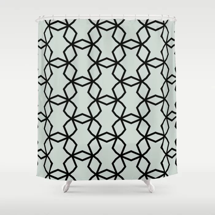 Pastel Green and Black Shape Mosaic Pattern Pairs Behr 2022 Color of the Year Breezeway MQ3-21 Shower Curtain. 2022 color trend