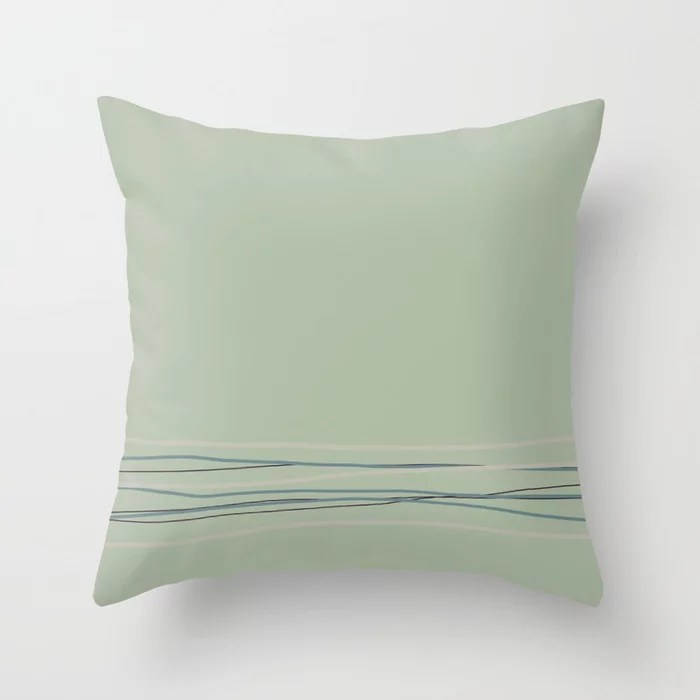 Green Scribble Line Pattern 2021 Color of the Year Aegean Teal and Accent Shades Throw Pillow