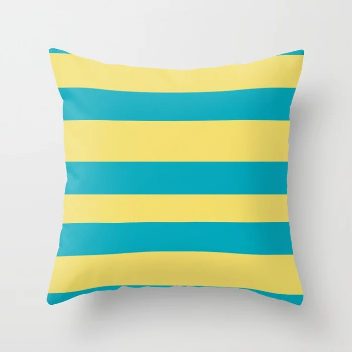 Aqua Blue and Yellow Wide Stripe Pattern 2021 Color of the Year AI Aqua and Lemon Sherbet Throw Pillow