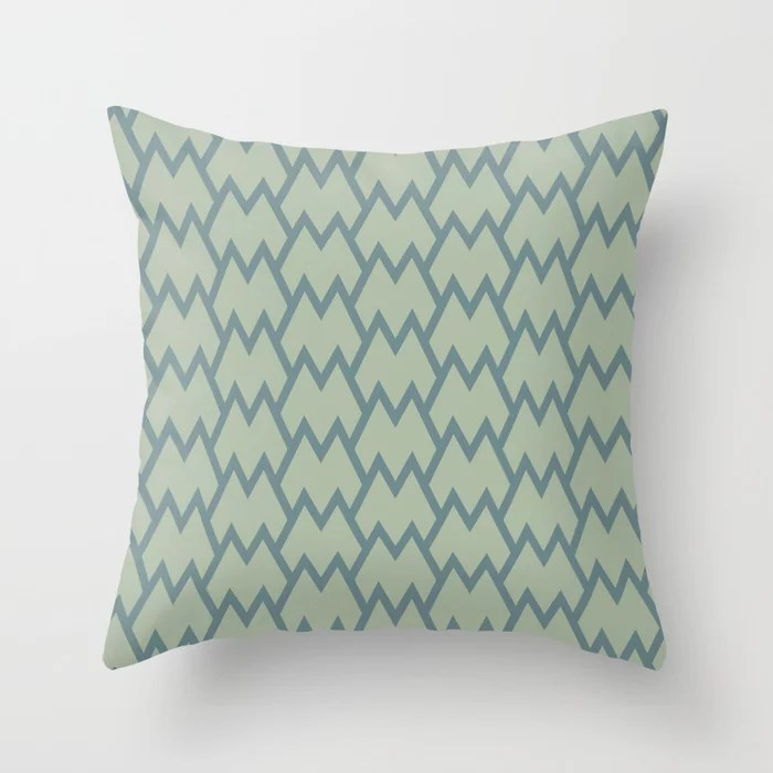 Soft Aqua Blue Green Tessellation Line Pattern 18 2021 Color of the Year Aegean Teal Salisbury Green Throw Pillow