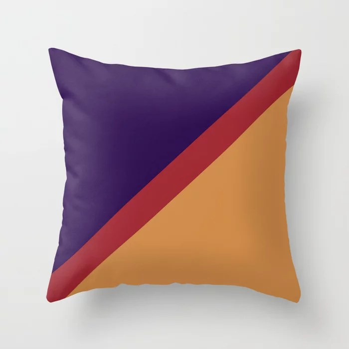 Red Purple Orange Diagonal Stripe Pattern Rustoleum 2021 Color of the Year Satin Paprika & Accents Throw Pillow