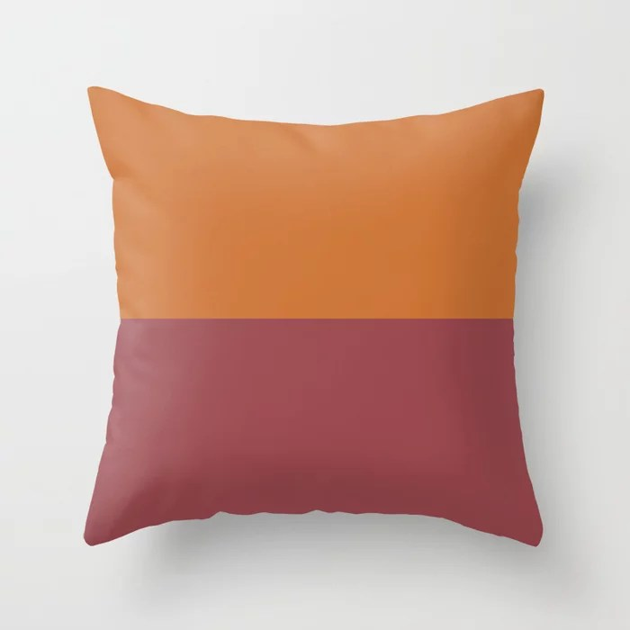 Red and Orange Minimal Solid Color Line Pattern 2021 Color of the Year Passionate and Copper Kettle Throw Pillow