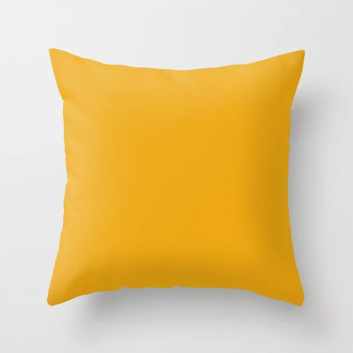 Golden Autumn Orange Solid Color Pairs Rustoleum 2021 Color Of The Year Accent Shade Harvest Peach Throw Pillow