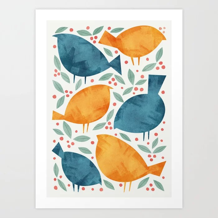 Sunday's Society6 | Watercolor birds art print