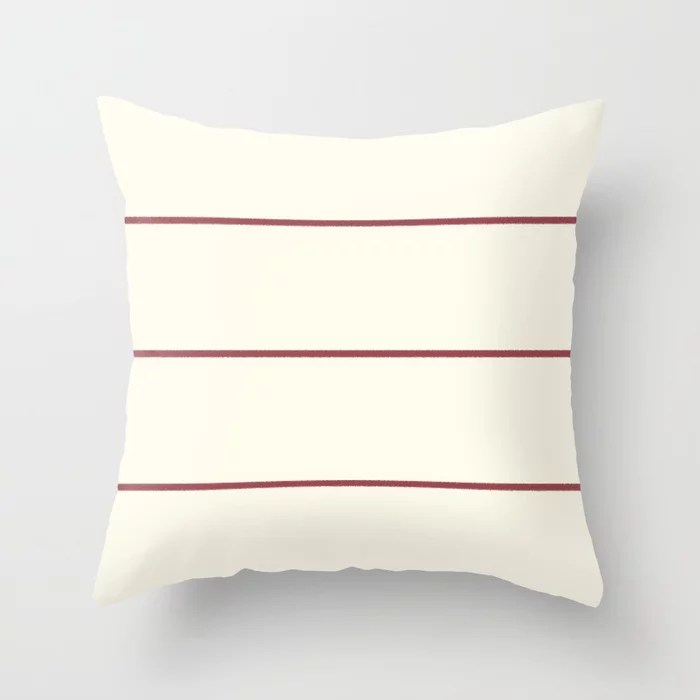 Red and Off White Abstract Stripe Pattern Pairs HGTV 2021 Color of the Year Passionate Throw Pillow