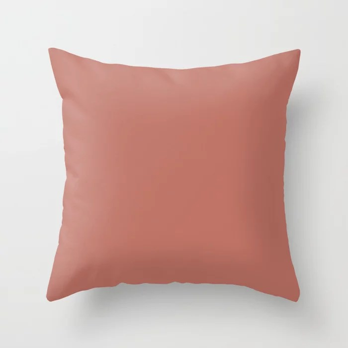 Orangish Pink Trending Solid Color: Hue inspired by and matches (pairs / coordinates with) Jolie 2021 Color of the Year Accent Hue Moroccan Clay Throw Pillow