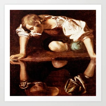 Michelangelo Merisi da Caravaggio, Narcissus at the Source, oil on canvas,  1597-99 Art Print by bookcollecting101 | Society6