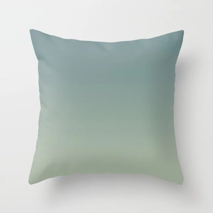 Cool Tropical Blue-Green Green Gradient Blend 2021 Color of the Year Aegean Teal and Salisbury Green Throw Pillow