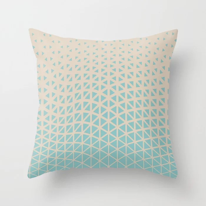 Pastel Teal and Beige Geometric Wave Pattern 2021 Color of the Year Aqua Fiesta and Sourdough Throw Pillow