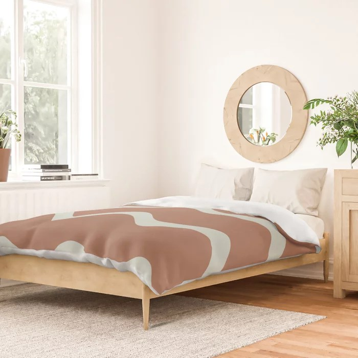 Mint Green and Terracotta Line - Stripe Pattern Behr 2022 Color of the Year Breezeway MQ3-21 Duvet Cover. Color forecast 2022