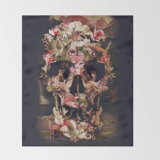 Jungle Skull Throw Blanket by Ali GULEC