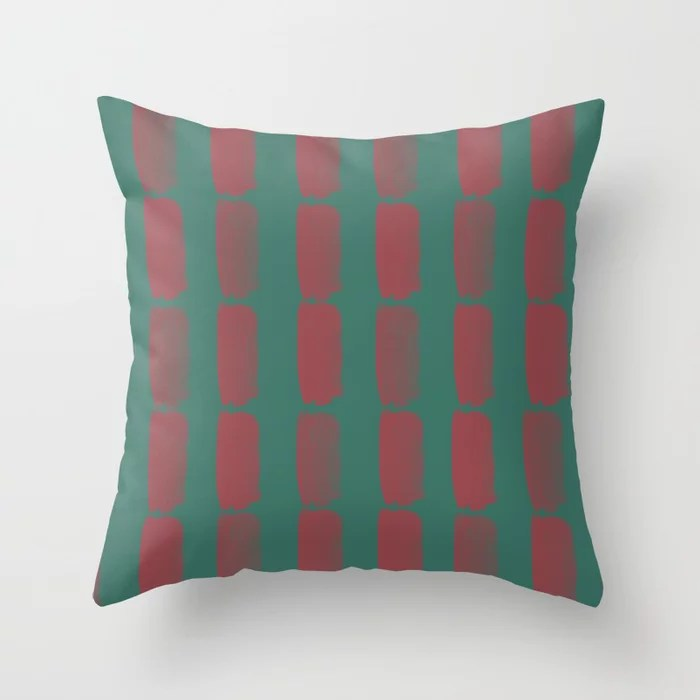 Red and Green Grid Brushstroke Pattern 2021 Color of the Year Passionate & Cloverfields Throw Pillow