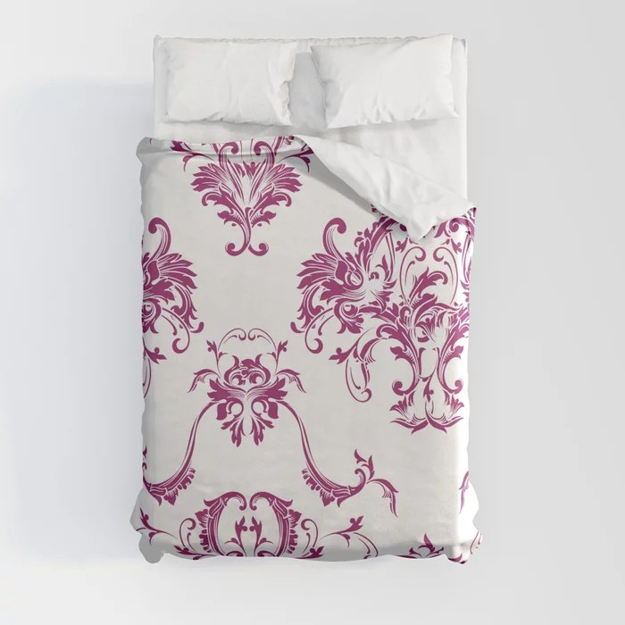 Magenta and White Damask Scroll Baroque Pattern - Colour of the Year 2022 Orchid Flower 150-38-31 Duvet Cover - color for 2022