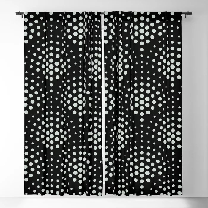 Mint Green and Black Polka Dot Scallop Pattern Behr 2022 Color of the Year Breezeway MQ3-21 Blackout Curtain. Colors popular 2022