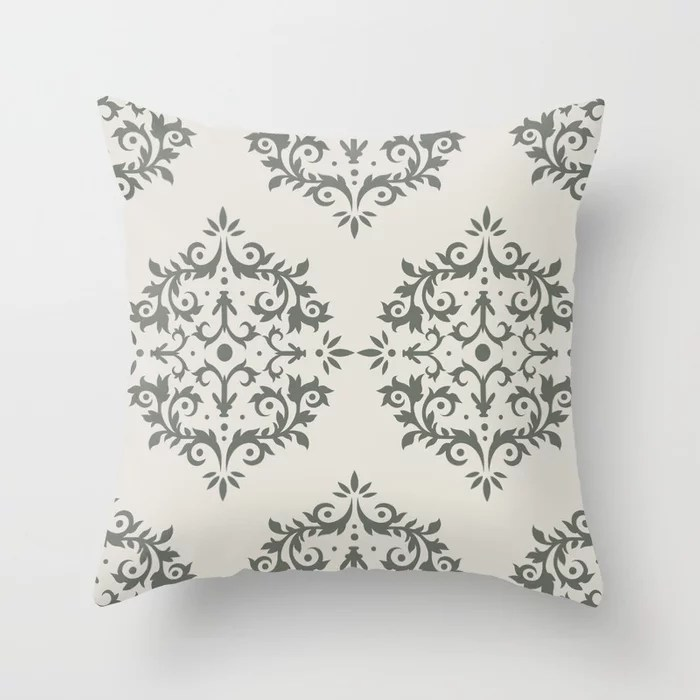 Moody Green Creamy White Damask Scroll Pattern 2021 Color of the Year Contemplative and Whitewisp Throw Pillow