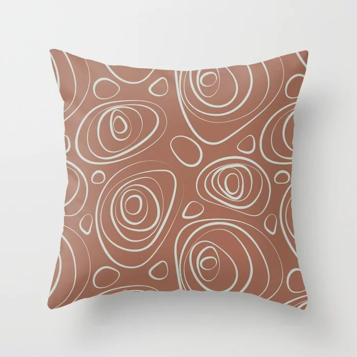 Mint Green and Terracotta Retro Circle Pattern Behr 2022 Color of the Year Breezeway MQ3-21 Throw Pillow. 2022 color scheme, trending interior design hue.