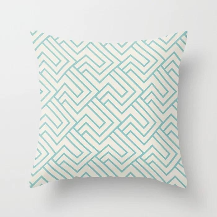 Aqua and Cream Minimal Line Art Pattern 2 2021 Color of the Year Aqua Fiesta and Horseradish Throw Pillow