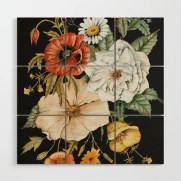 Wildflower Bouquet on Charcoal Wood Wall Art