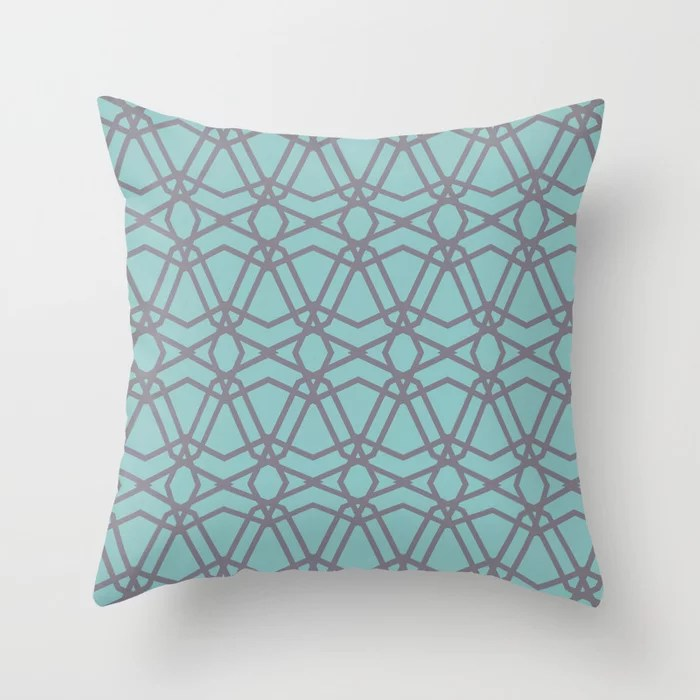 Aqua and Purple Line Geometric Pattern Chains 2021 Color of the Year Aqua Fiesta and Magic Dust Throw Pillow