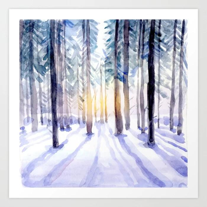Sunday's Society6   Winter woods wonderland watercolor art print