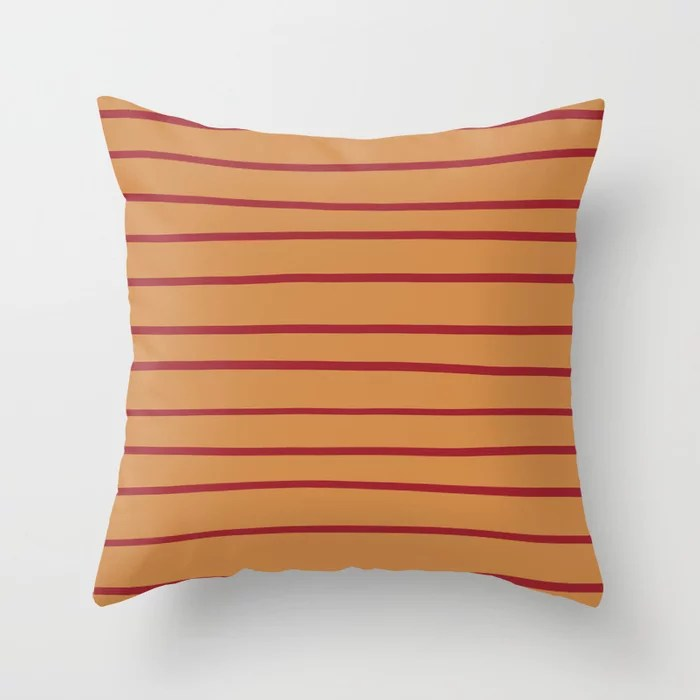 Red Orange Brown Thin Stripe Pattern 2021 Color of the Year Satin Paprika and Satin Warm Caramel Throw Pillow