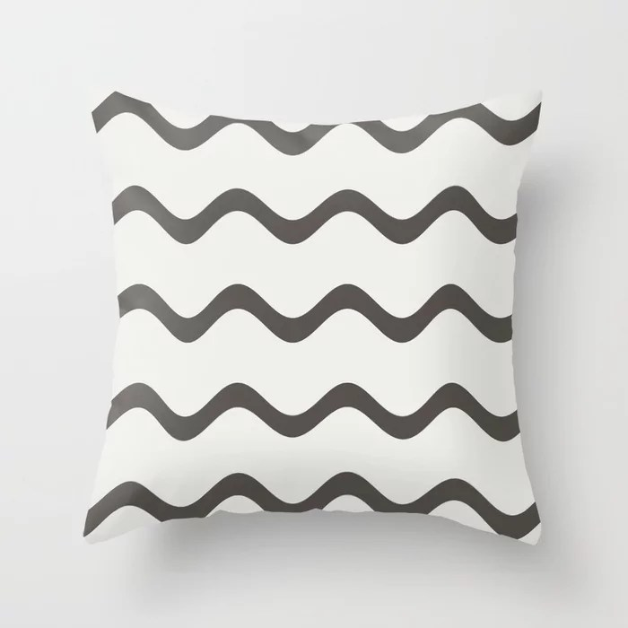 Brown Off-White Rippled Horizontal Stripe Pattern 2021 Color of the Year Urbane Bronze & Extra White Throw Pillow