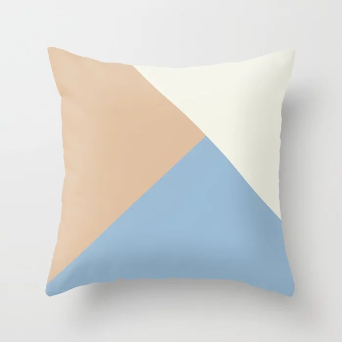 Pastel Blue Off White Peach Solid Color Shapes Throw Pillows inspired by and pairs to (matches / coordinates with) Dutch Boy 2021 Color of the Year Earth's Harmony & Accents