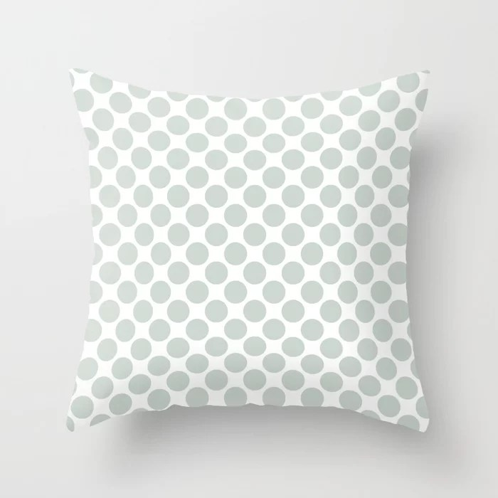 Mint Green and White Polka Dot Pattern Behr 2022 Color of the Year Breezeway MQ3-21 Throw Pillow. 2022 color scheme, trending interior design hue.