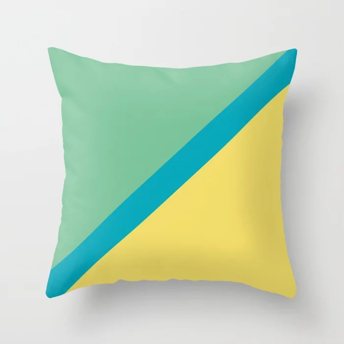 Blue-Green Yellow Green Diagonal Stripe Pattern 2021 Color of the Year AI Aqua 098-59-30 Throw Pillow