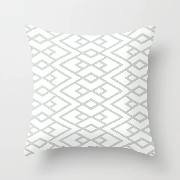 Pastel Green and White Diamond Shape Pattern Throw Pillow Pairs Behr 2022 Color of the Year Breezeway MQ3-21 Throw Pillow. 2022 color scheme, trending interior design hue.