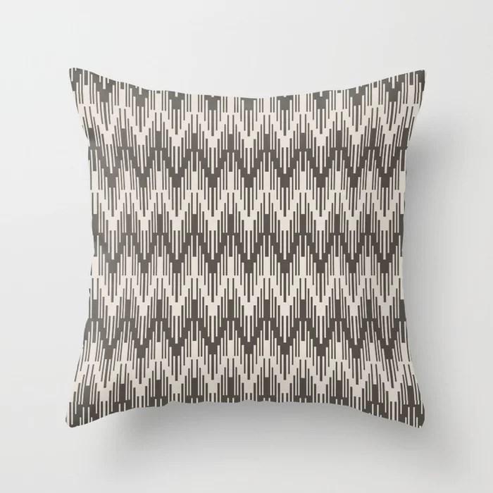 Dark Brown Cream Striped Chevron Ripple Pattern 2021 Color of the Year Urbane Bronze and Shoji White Throw Pillow