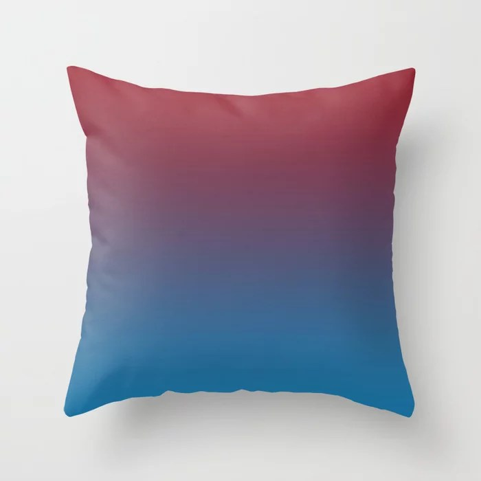 Red and Blue Gradient Ombre Blend 2021 Color of the Year Satin Paprika and Satin Lagoon Throw Pillow