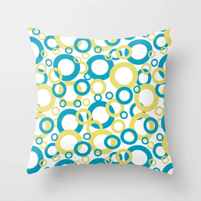 Blue Green, Yellow, White Geometric Ring Pattern 2021 Color of the Year AI Aqua 098-59-30 Throw Pillow
