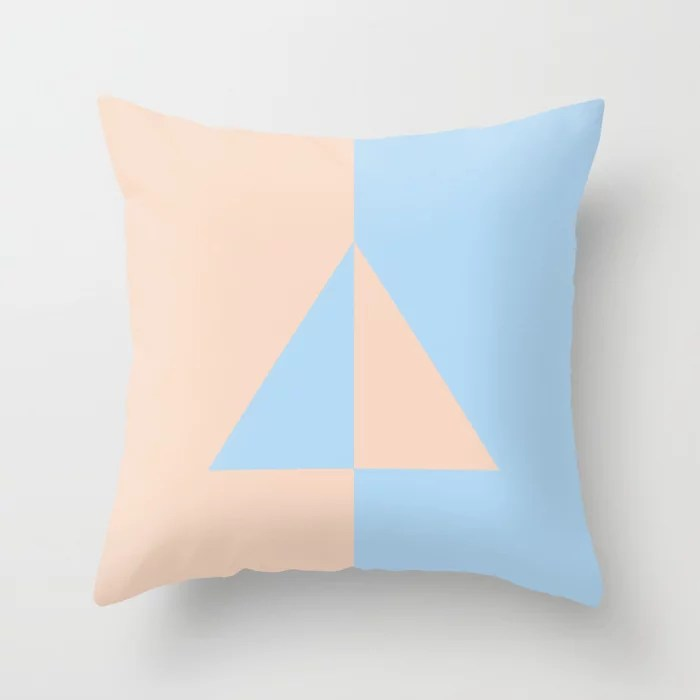Baby Blue and Peach Minimal Triangle Design 2021 Color of the Year Wild Blue Yonder Natural Tan Throw Pillow