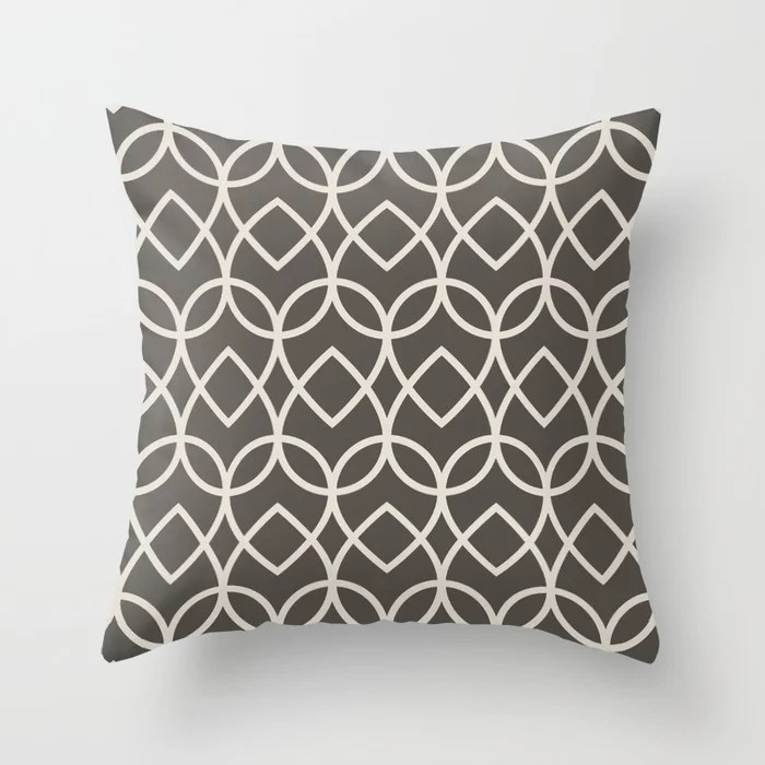 Brown and Cream Geometric Line Pattern Teardrop Throw Pillows Match and coordinate with Sherwin Williams Paints 2021 Color of the Year Urbane Bronze and Shoji White