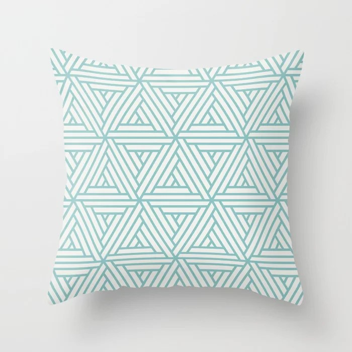 Aquamarine White Geometric Shape Mosaic Pattern 2 Pairs 2021 Color of the Year Aqua Fiesta PPG1147-4 Throw Pillow