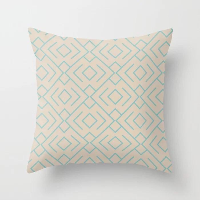 Aquamarine Beige Geometric Mosaic Pattern 4 V2 Color of the Year Aqua Fiesta and Sourdough Throw Pillow